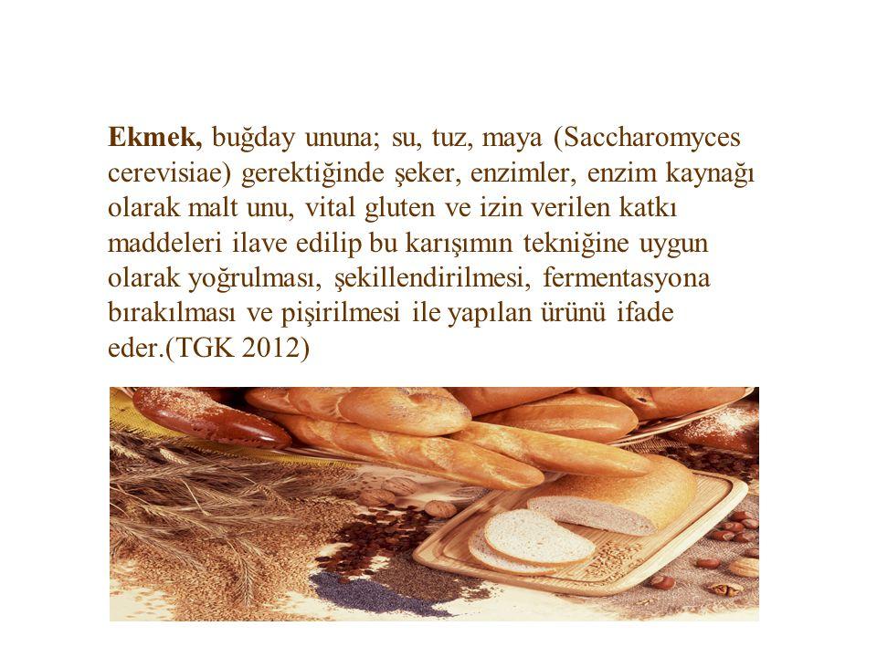 Ekmek, buğday ununa; su, tuz, maya (Saccharomyces cerevisiae) gerektiğinde şeker, enzimler, enzim kaynağı olarak malt unu, vital gluten ve izin verilen katkı maddeleri ilave edilip bu karışımın tekniğine uygun olarak yoğrulması, şekillendirilmesi, fermentasyona bırakılması ve pişirilmesi ile yapılan ürünü ifade eder.(TGK 2012)