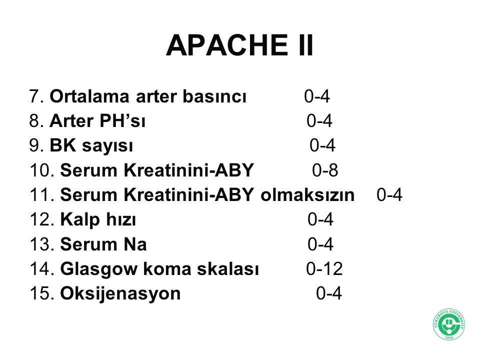 APACHE II 7. Ortalama arter basıncı 0-4 8. Arter PH'sı 0-4