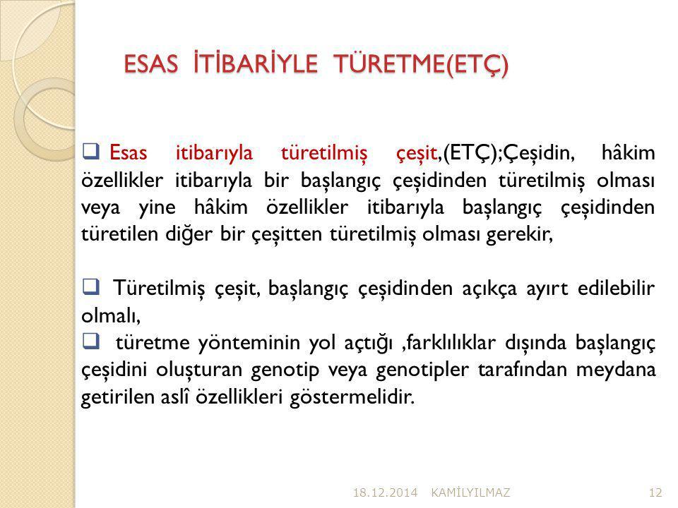 ESAS İTİBARİYLE TÜRETME(ETÇ)