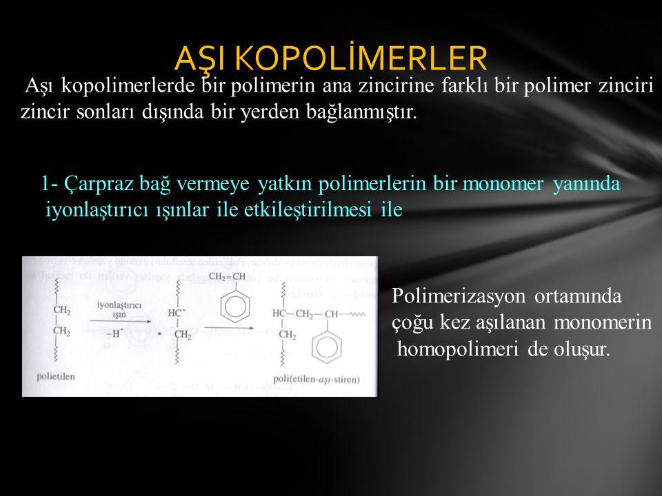 AŞI KOPOLİMERLER Aşı kopolimerlerde bir polimerin ana zincirine farklı bir polimer zinciri. zincir sonları dışında bir yerden bağlanmıştır.