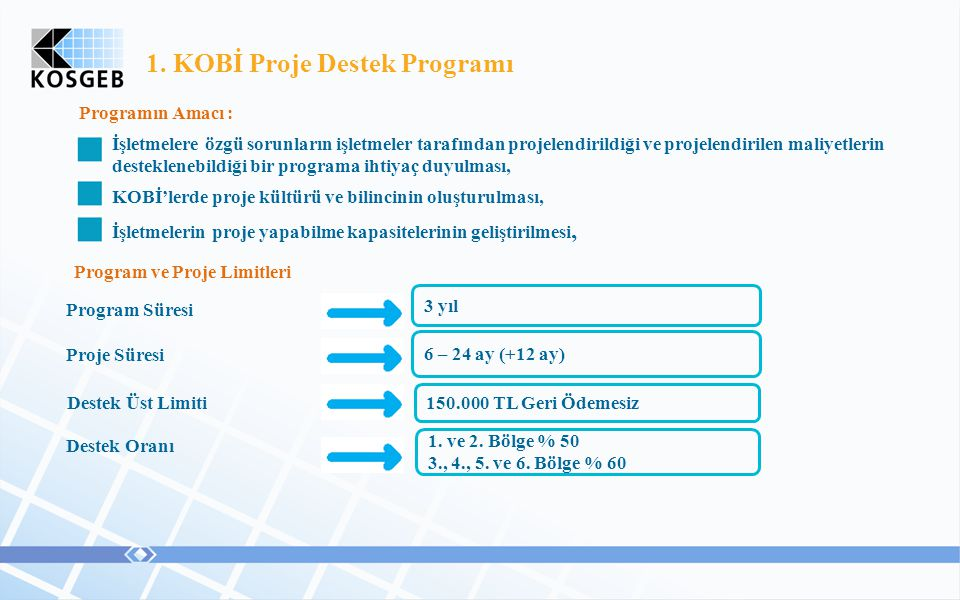 1. KOBİ Proje Destek Programı