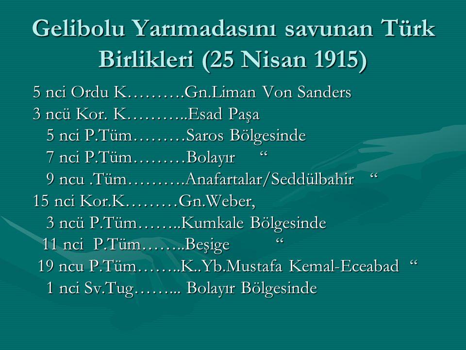 Gelibolu Yarımadasını savunan Türk Birlikleri (25 Nisan 1915)