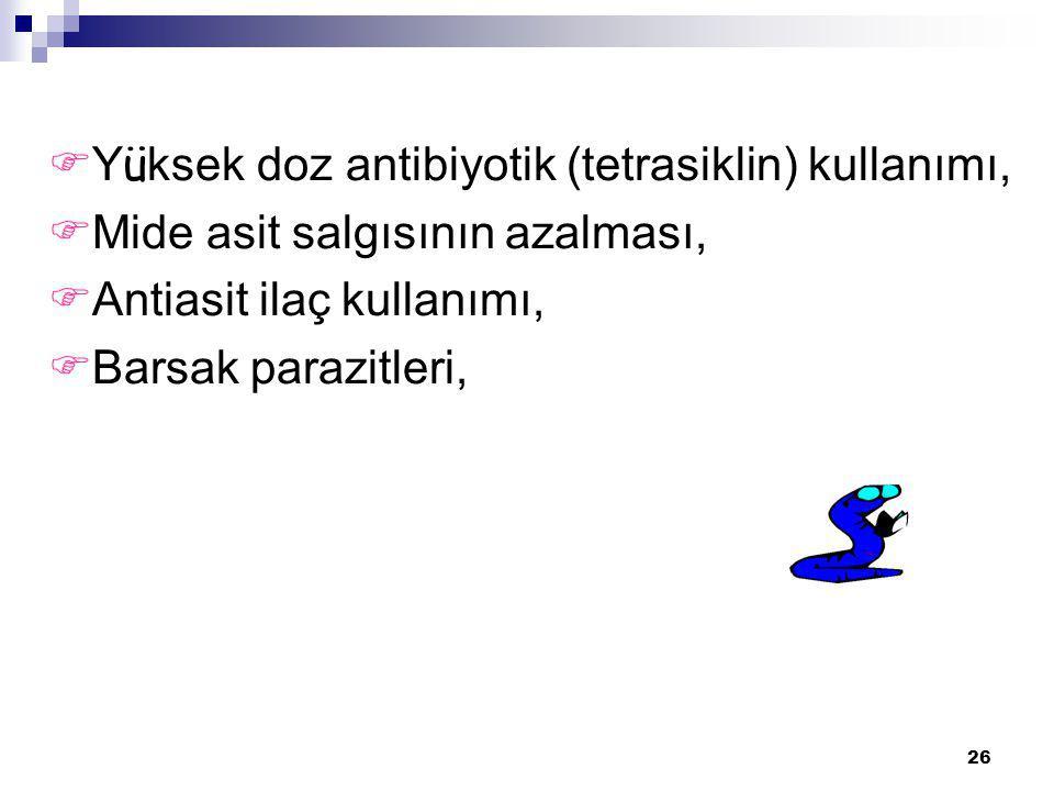Yüksek doz antibiyotik (tetrasiklin) kullanımı,