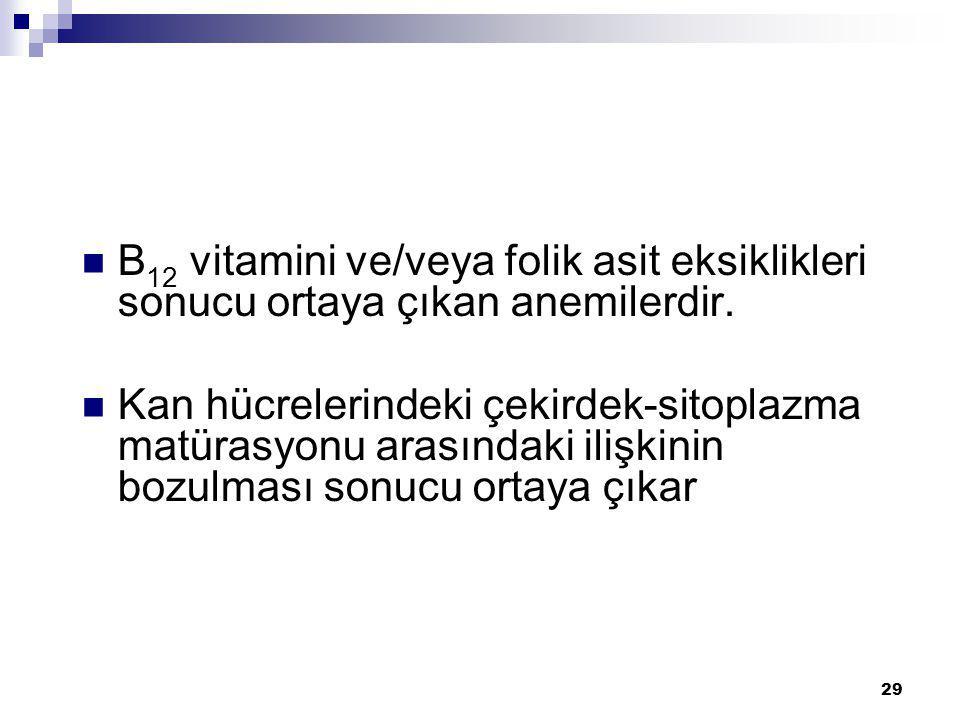 B12 vitamini ve/veya folik asit eksiklikleri sonucu ortaya çıkan anemilerdir.
