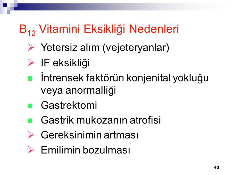B12 Vitamini Eksikliği Nedenleri