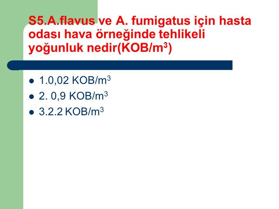 S5.A.flavus ve A. fumigatus için hasta odası hava örneğinde tehlikeli yoğunluk nedir(KOB/m3)