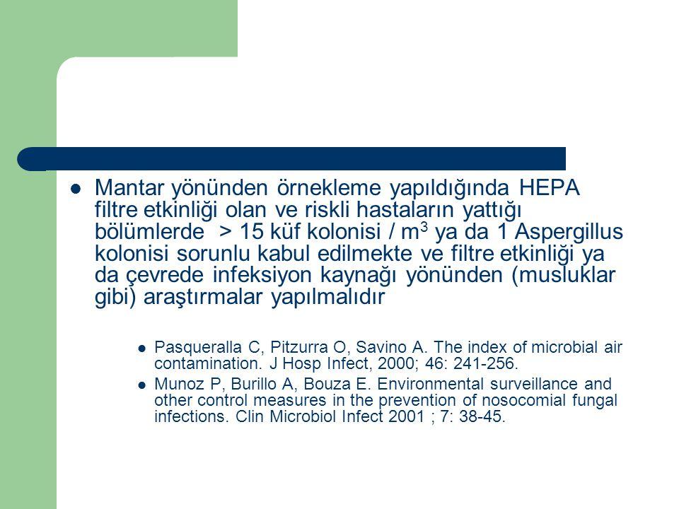 Mantar yönünden örnekleme yapıldığında HEPA filtre etkinliği olan ve riskli hastaların yattığı bölümlerde > 15 küf kolonisi / m3 ya da 1 Aspergillus kolonisi sorunlu kabul edilmekte ve filtre etkinliği ya da çevrede infeksiyon kaynağı yönünden (musluklar gibi) araştırmalar yapılmalıdır
