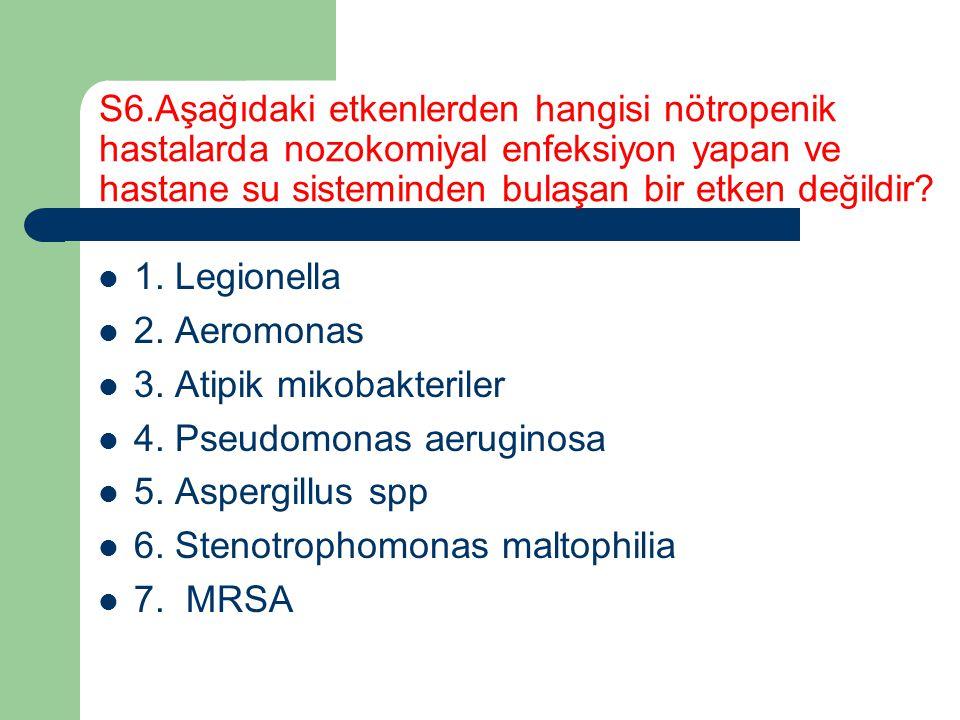 S6.Aşağıdaki etkenlerden hangisi nötropenik hastalarda nozokomiyal enfeksiyon yapan ve hastane su sisteminden bulaşan bir etken değildir