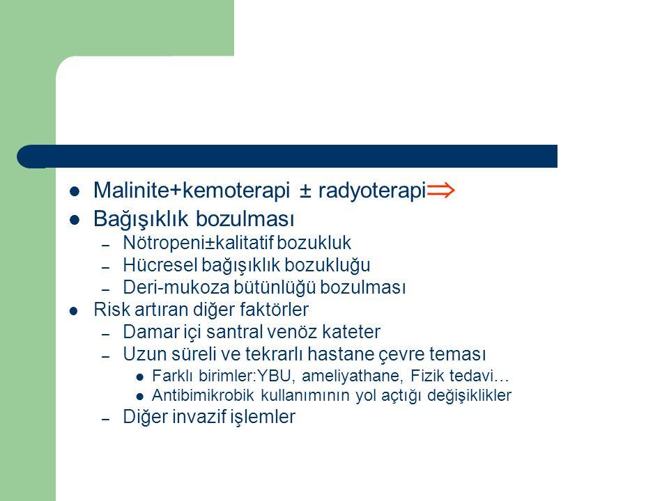 Malinite+kemoterapi ± radyoterapi Bağışıklık bozulması