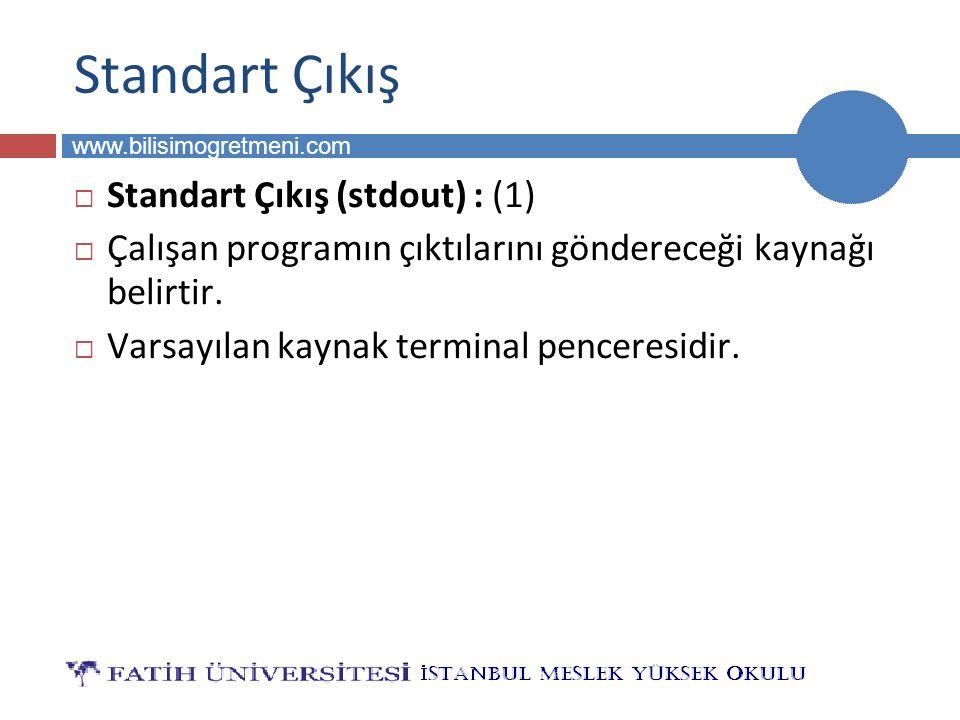 Standart Çıkış Standart Çıkış (stdout) : (1)