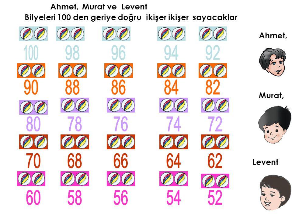 Ahmet, Murat ve. Levent. Bilyeleri 100 den geriye doğru ikişer ikişer sayacaklar. Ahmet, 100.