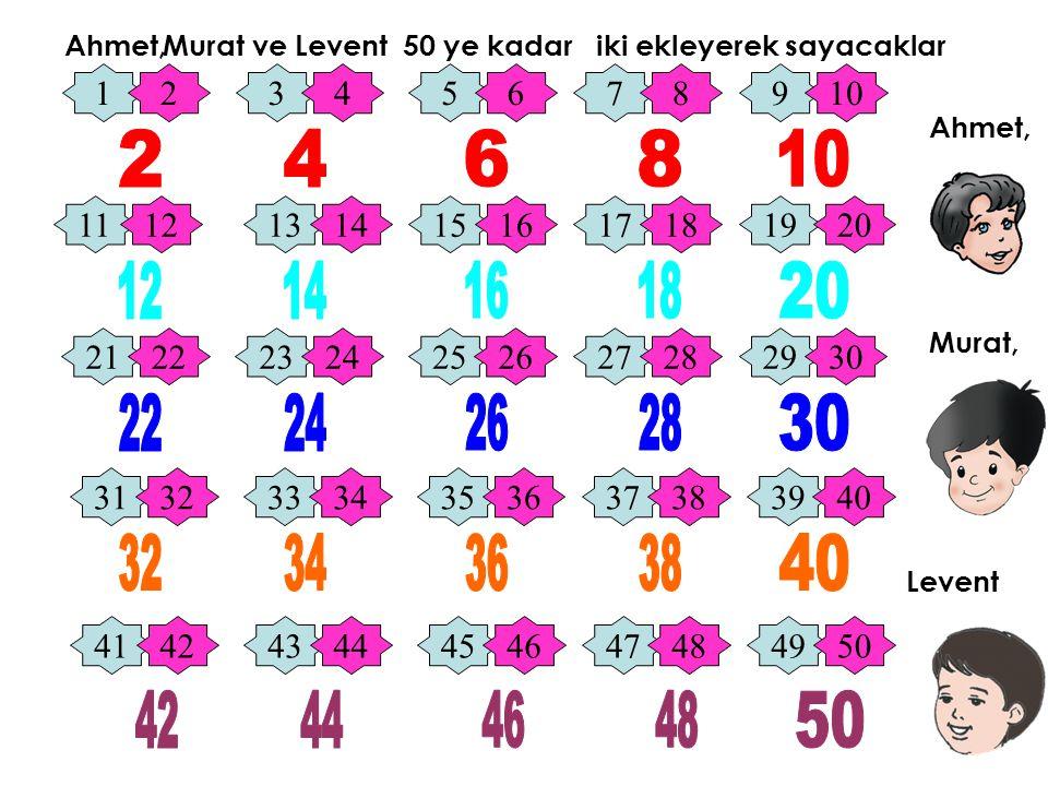 Ahmet, Murat ve. Levent. 50 ye kadar iki ekleyerek sayacaklar. 1. 2. 3. 4. 5. 6. 7. 8. 9.