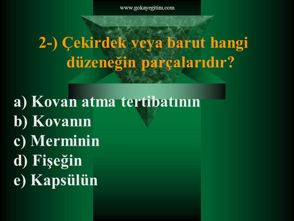 2-) Çekirdek veya barut hangi düzeneğin parçalarıdır