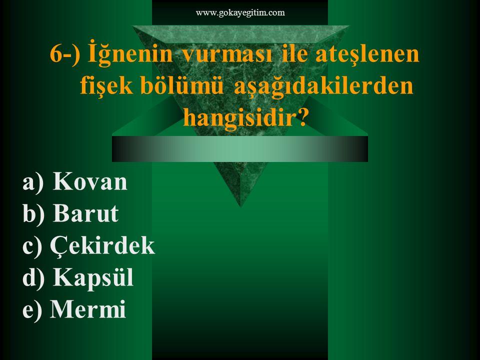 www.gokayegitim.com 6-) İğnenin vurması ile ateşlenen fişek bölümü aşağıdakilerden hangisidir Kovan.