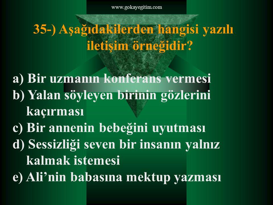 35-) Aşağıdakilerden hangisi yazılı iletişim örneğidir