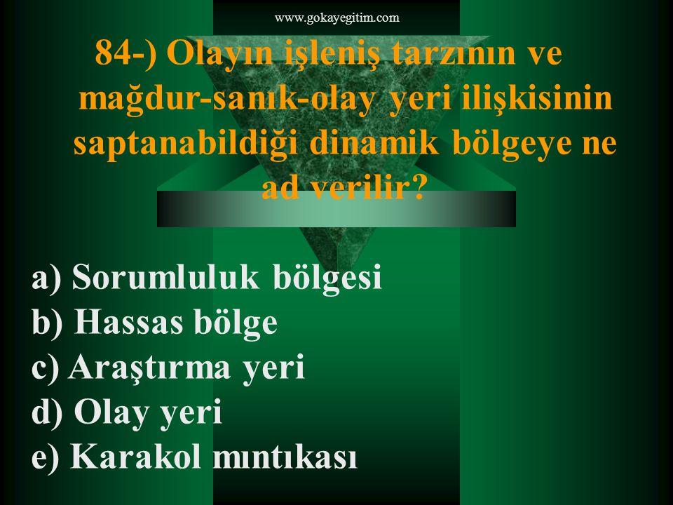 www.gokayegitim.com 84-) Olayın işleniş tarzının ve mağdur-sanık-olay yeri ilişkisinin saptanabildiği dinamik bölgeye ne ad verilir