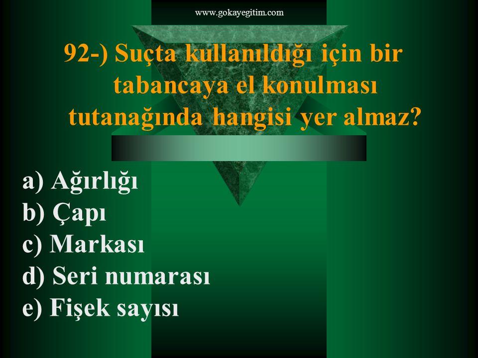 www.gokayegitim.com 92-) Suçta kullanıldığı için bir tabancaya el konulması tutanağında hangisi yer almaz