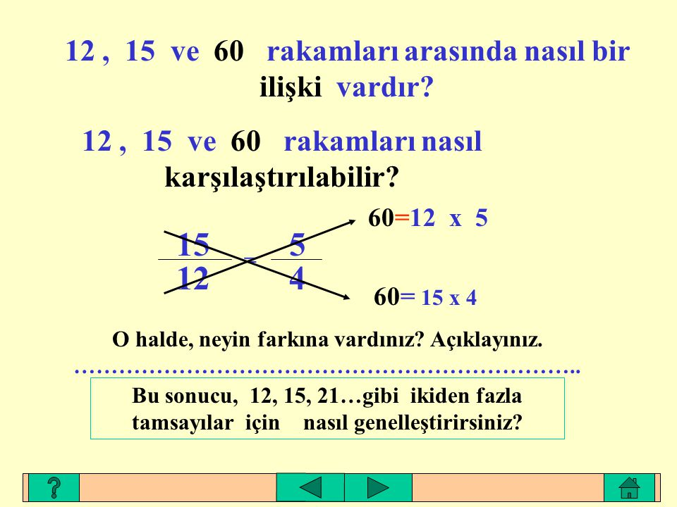 15 12 5 4 12 , 15 ve 60 rakamları arasında nasıl bir ilişki vardır