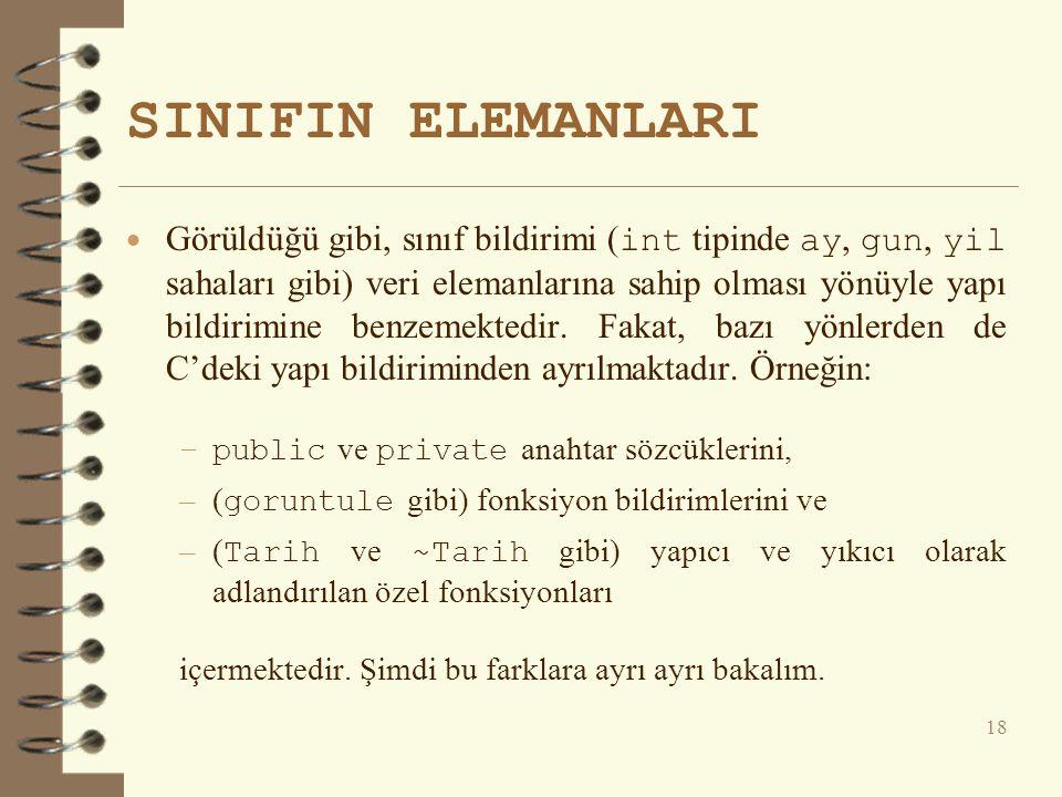 SINIFIN ELEMANLARI