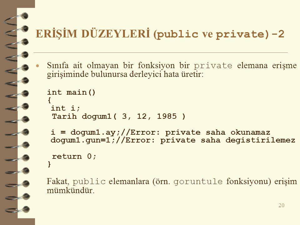 ERİŞİM DÜZEYLERİ (public ve private)-2