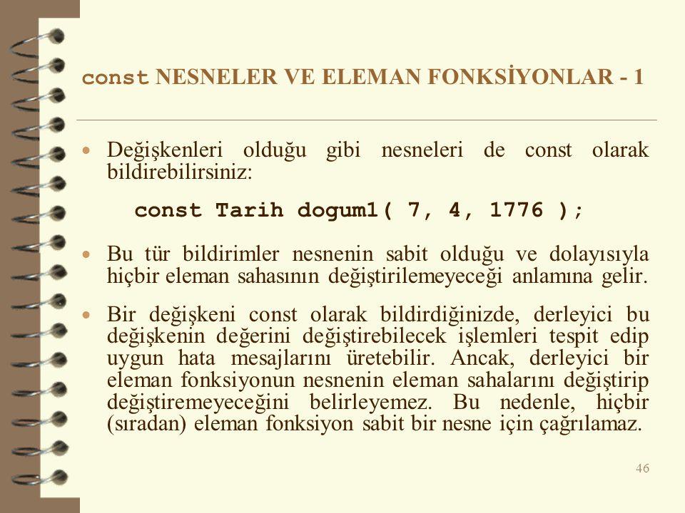 const NESNELER VE ELEMAN FONKSİYONLAR - 1