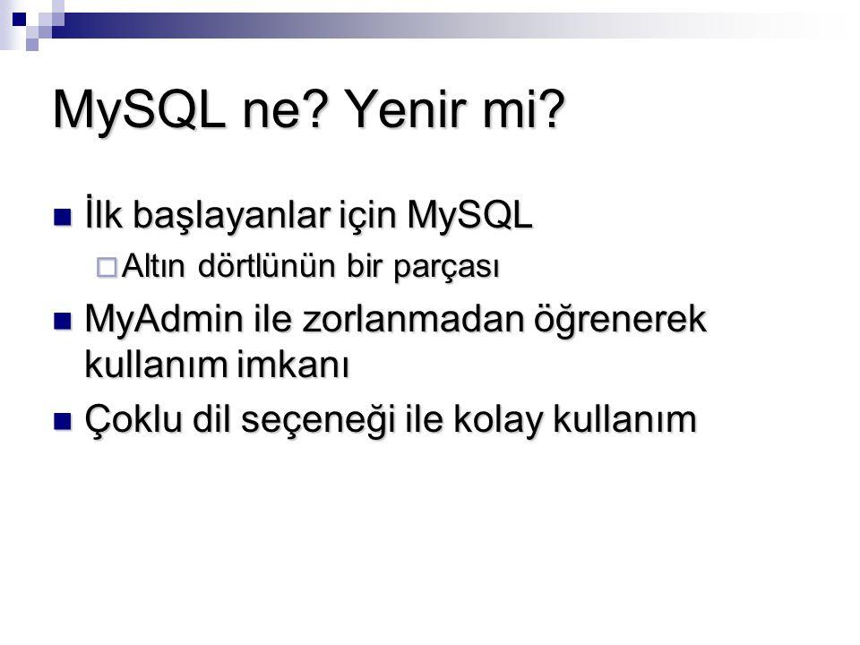 MySQL ne Yenir mi İlk başlayanlar için MySQL
