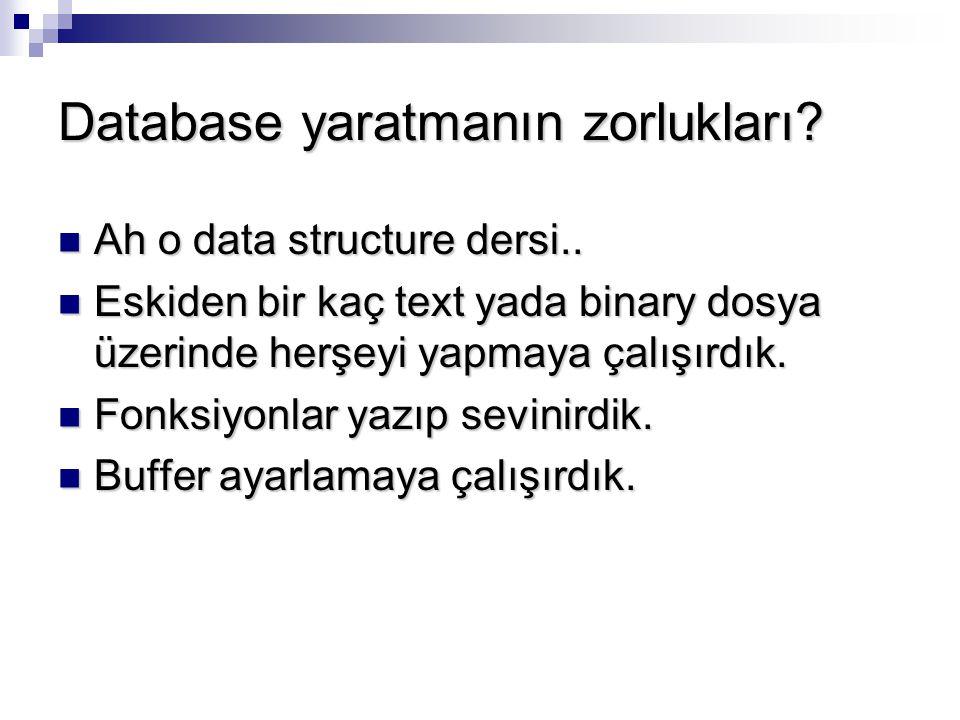 Database yaratmanın zorlukları