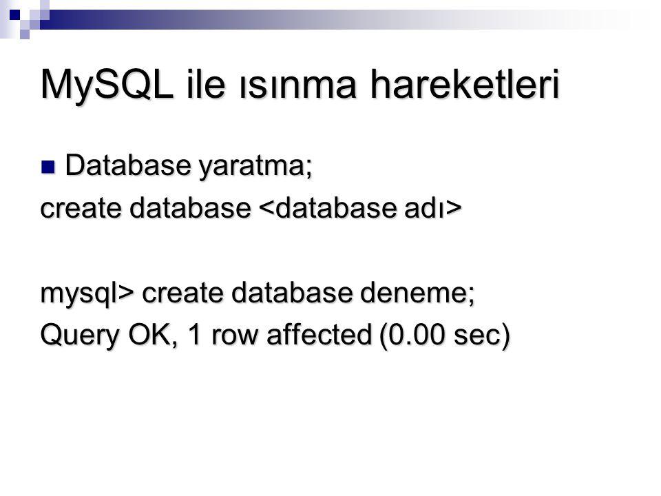 MySQL ile ısınma hareketleri