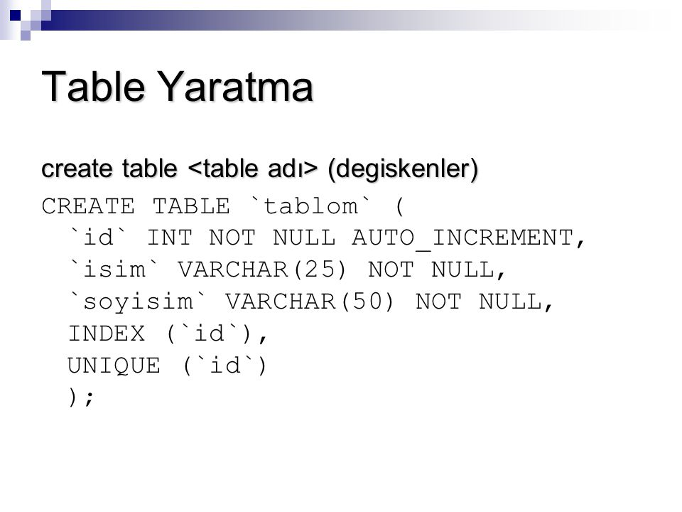 Table Yaratma create table <table adı> (degiskenler)
