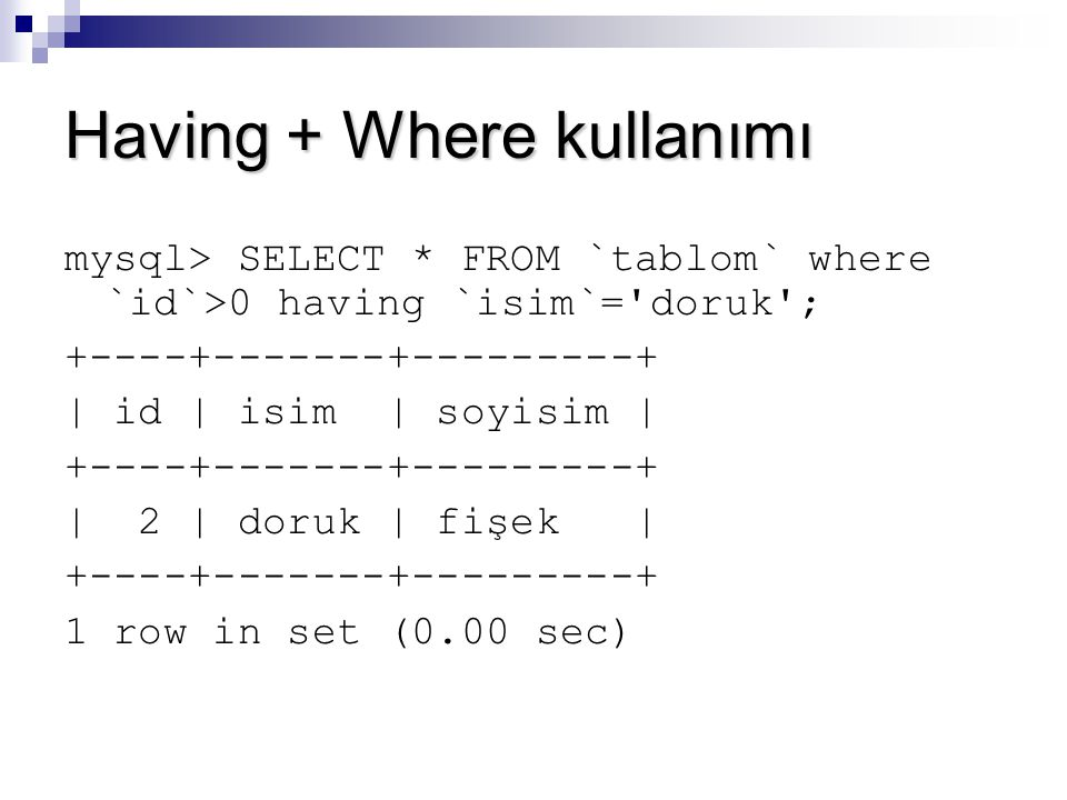 Having + Where kullanımı