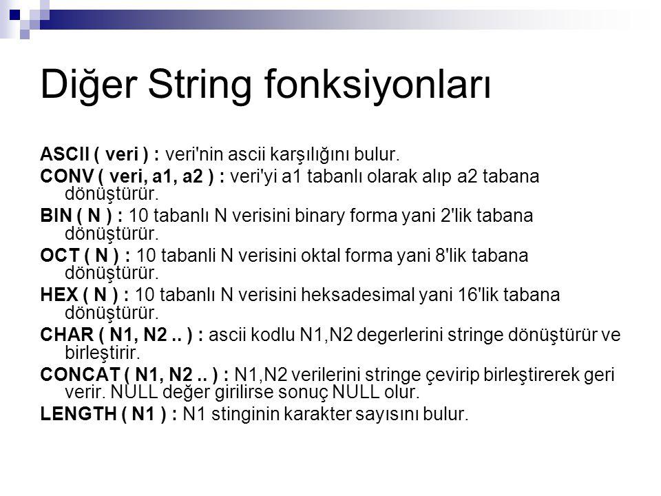 Diğer String fonksiyonları