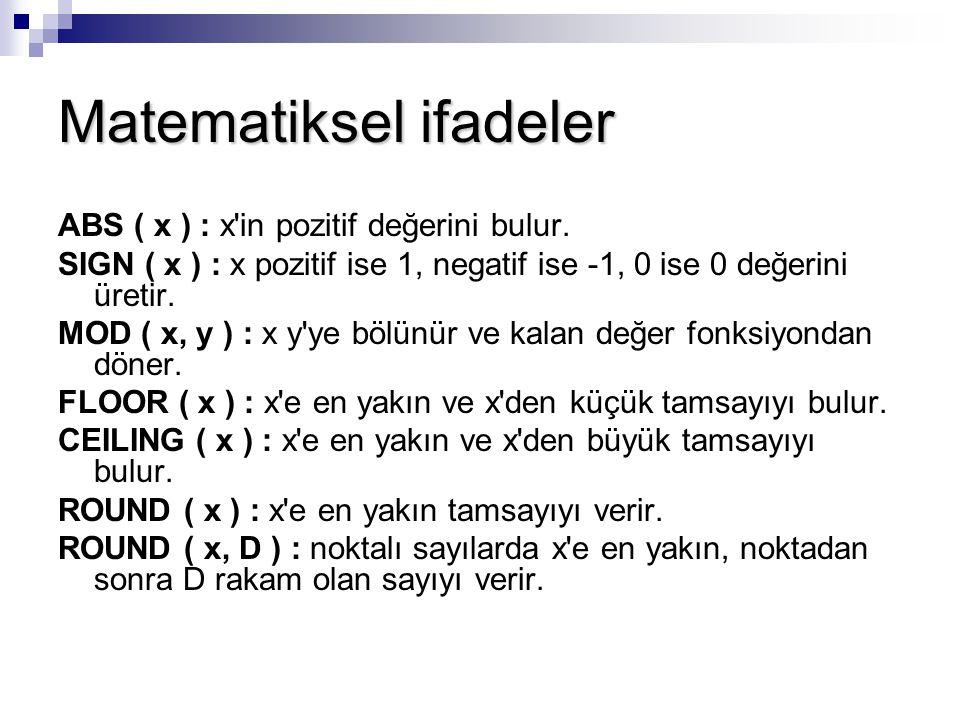 Matematiksel ifadeler