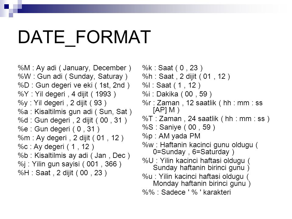 DATE_FORMAT %M : Ay adi ( January, December )