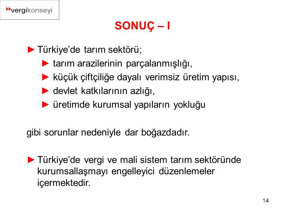 SONUÇ – I Türkiye'de tarım sektörü;