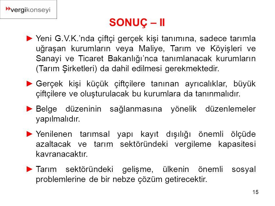 SONUÇ – II