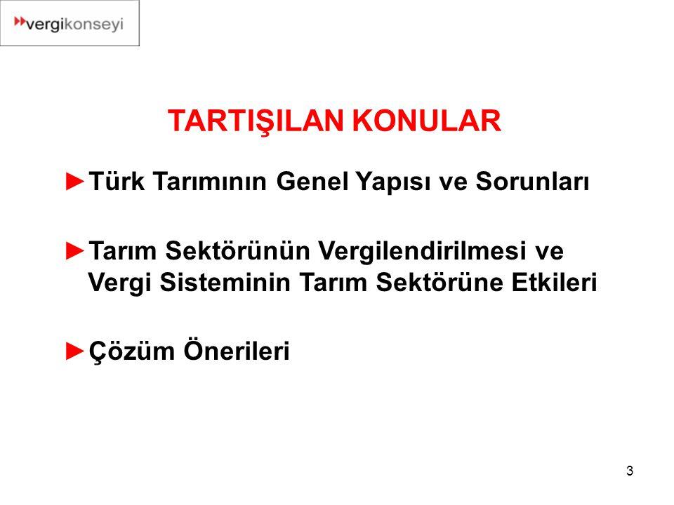 TARTIŞILAN KONULAR Türk Tarımının Genel Yapısı ve Sorunları