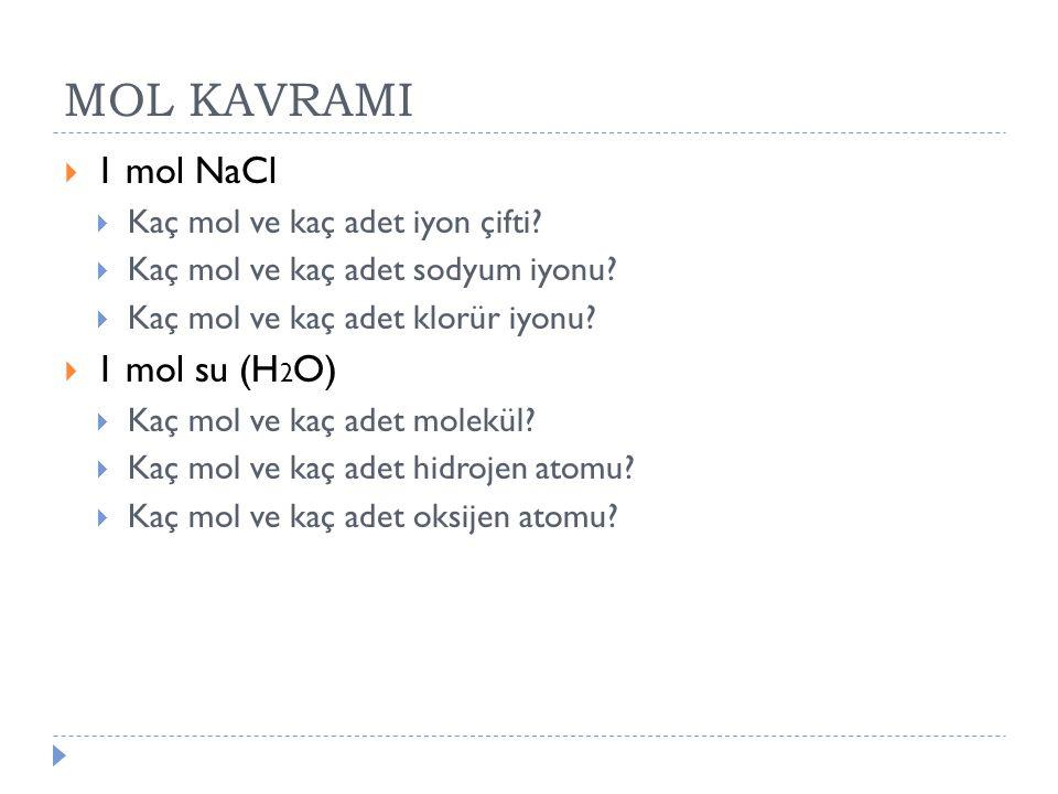 MOL KAVRAMI 1 mol NaCl 1 mol su (H2O) Kaç mol ve kaç adet iyon çifti