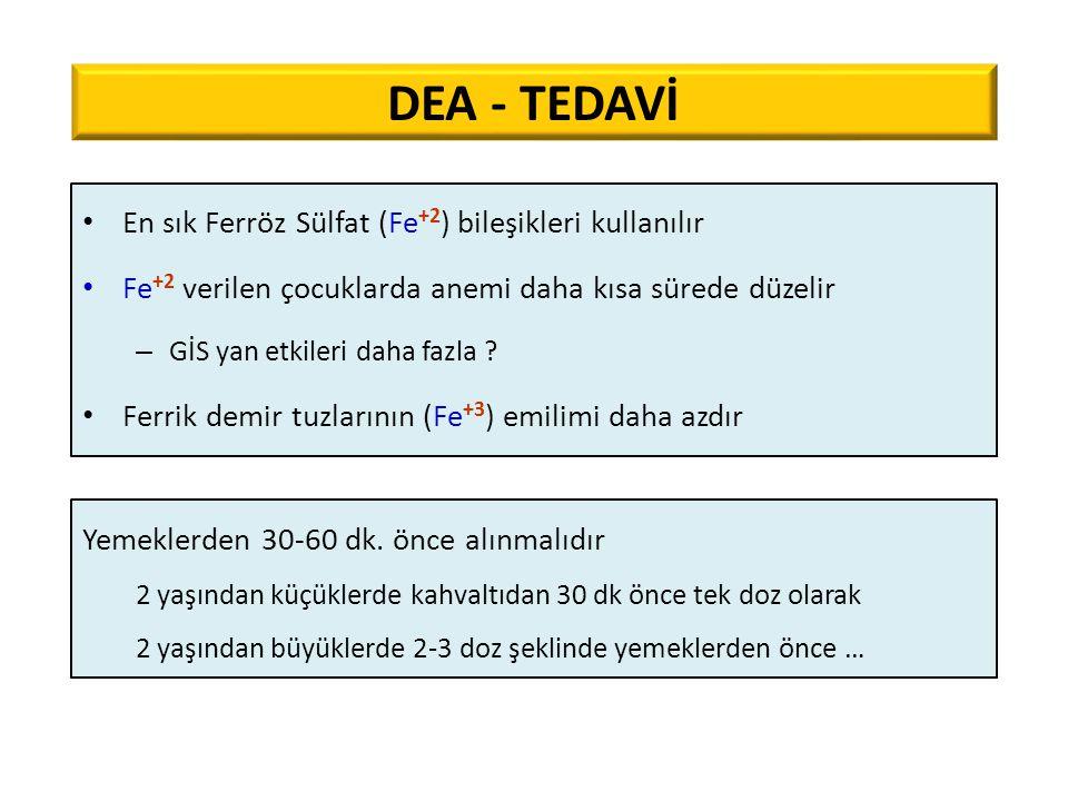 DEA - TEDAVİ En sık Ferröz Sülfat (Fe+2) bileşikleri kullanılır