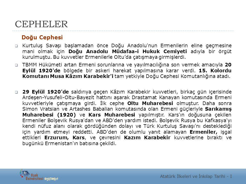 CEPHELER Doğu Cephesi.