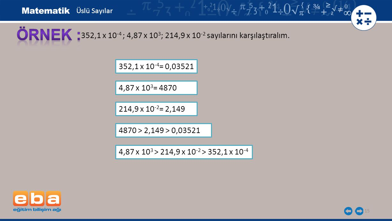 Üslü Sayılar ÖRNEK : 352,1 x 10-4 ; 4,87 x 103; 214,9 x 10-2 sayılarını karşılaştıralım. 352,1 x 10-4= 0,03521.