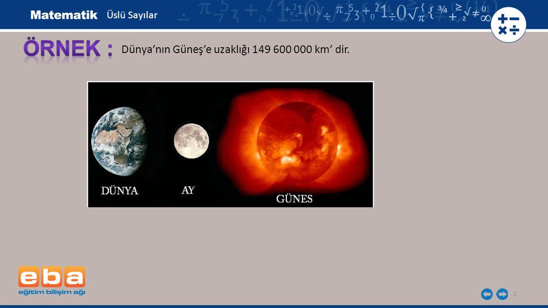 Üslü Sayılar ÖRNEK : Dünya'nın Güneş'e uzaklığı 149 600 000 km' dir.
