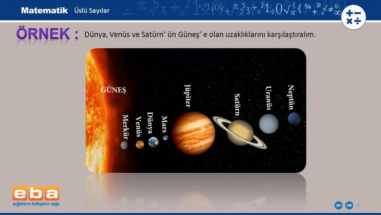 Üslü Sayılar ÖRNEK : Dünya, Venüs ve Satürn' ün Güneş' e olan uzaklıklarını karşılaştıralım.