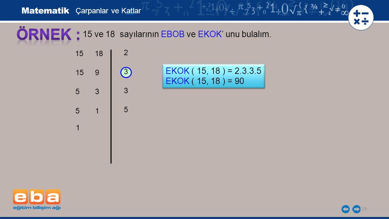 ÖRNEK : 15 ve 18 sayılarının EBOB ve EKOK' unu bulalım.