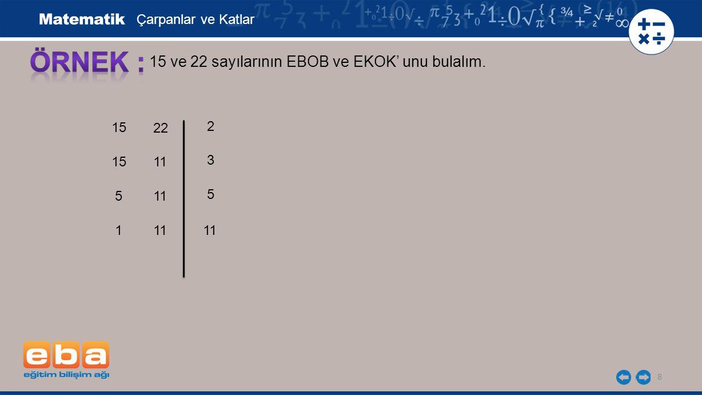 ÖRNEK : 15 ve 22 sayılarının EBOB ve EKOK' unu bulalım.
