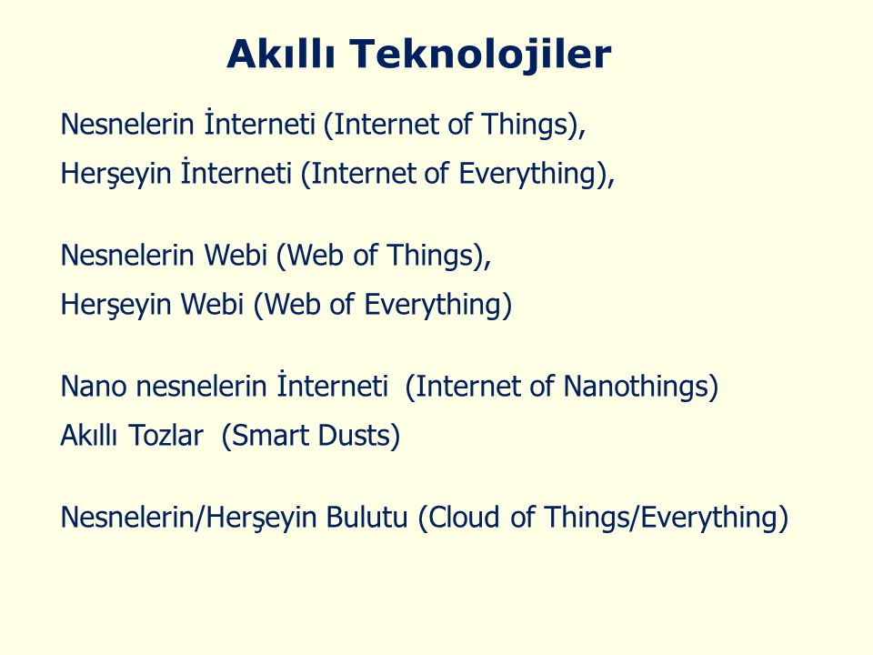 Akıllı Teknolojiler Nesnelerin İnterneti (Internet of Things),