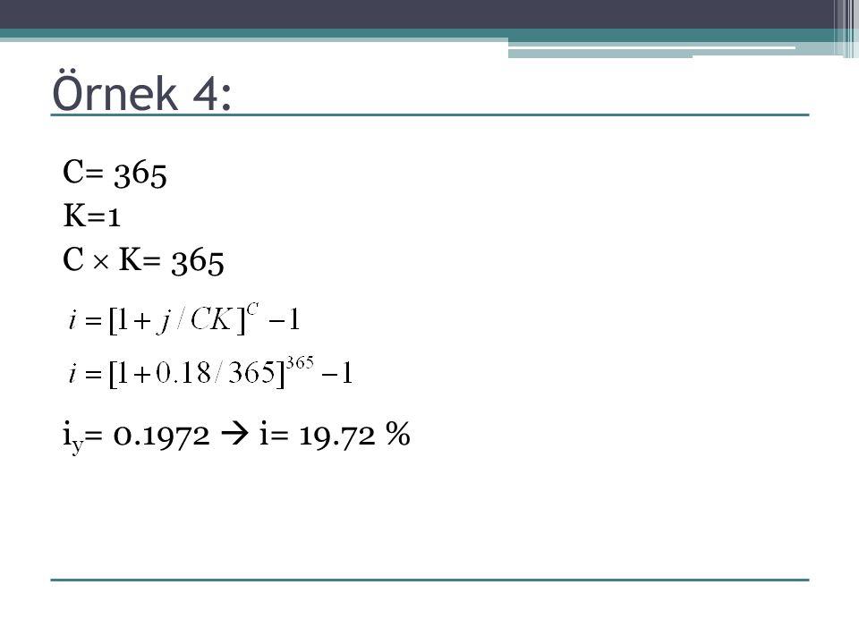 Örnek 4: C= 365 K=1 C  K= 365 iy= 0.1972  i= 19.72 %