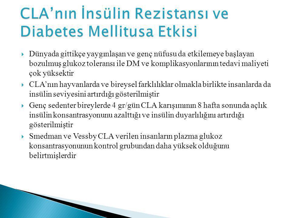 CLA'nın İnsülin Rezistansı ve Diabetes Mellitusa Etkisi