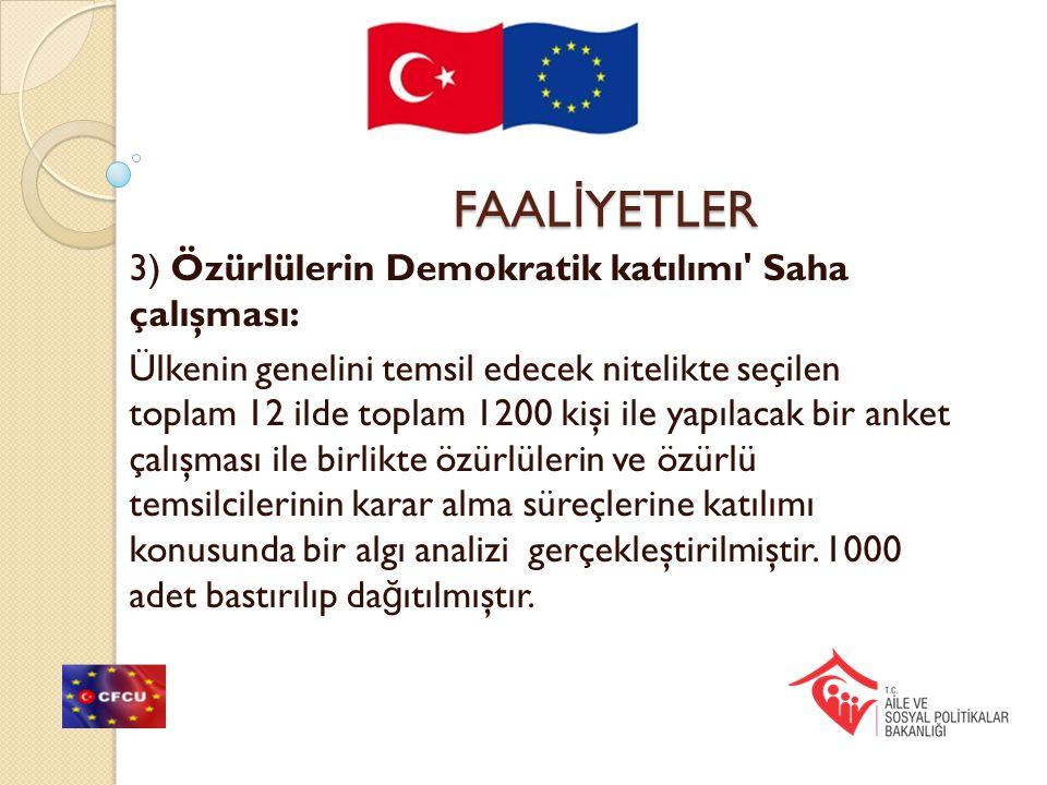 FAALİYETLER 3) Özürlülerin Demokratik katılımı Saha çalışması: