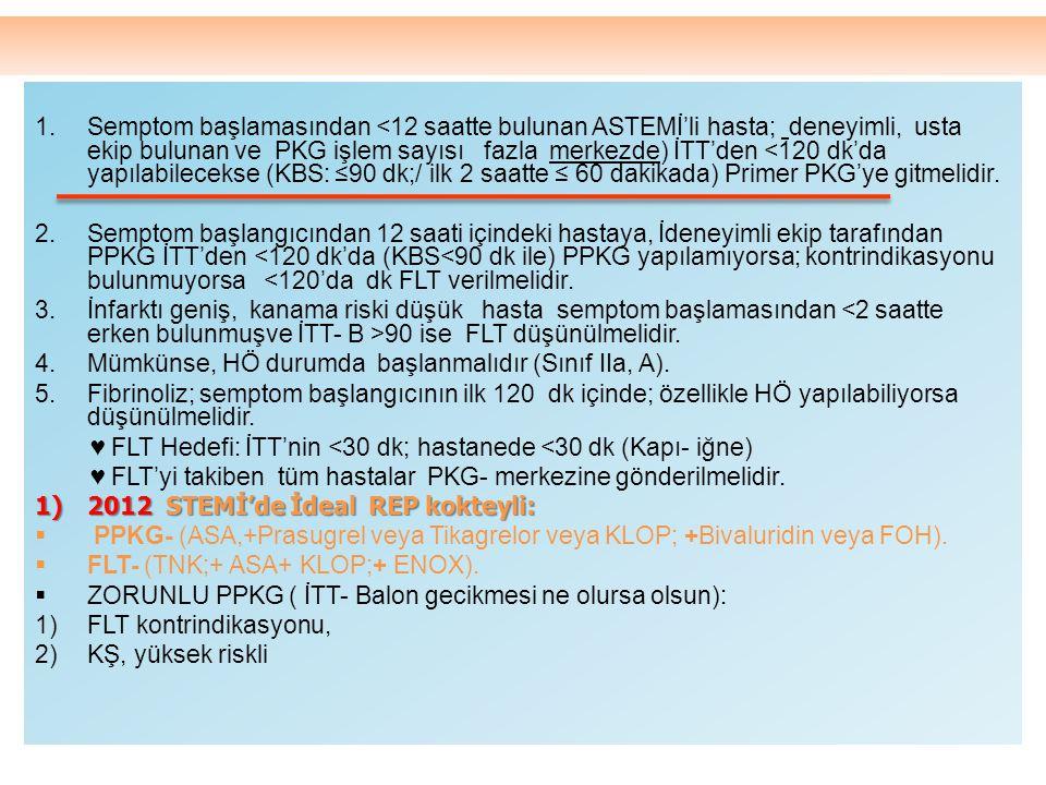 Semptom başlamasından <12 saatte bulunan ASTEMİ'li hasta; deneyimli, usta ekip bulunan ve PKG işlem sayısı fazla merkezde) İTT'den <120 dk'da yapılabilecekse (KBS: ≤90 dk;/ ilk 2 saatte ≤ 60 dakikada) Primer PKG'ye gitmelidir.