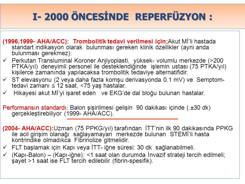 I- 2000 ÖNCESİNDE REPERFÜZYON :
